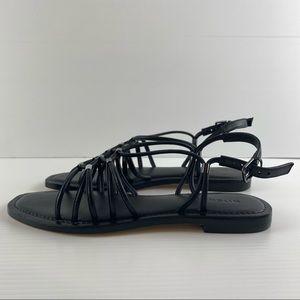 Witchery Black Strappy Flat Leather Sandal Size 8